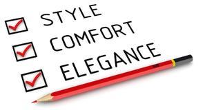 Стиль, комфорт, элегантность Список с контрольными пометками иллюстрация штока