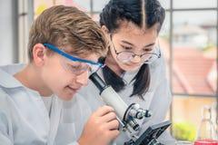 Студенты используя микроскоп в классе лаборатории науки стоковое фото rf