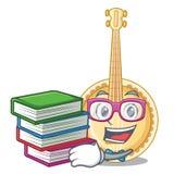 Студент с банджо книги миниатюрным в формах мультфильма иллюстрация вектора