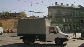 стрельба Высоко-движения обычной улицы Ukrainia видеоматериал