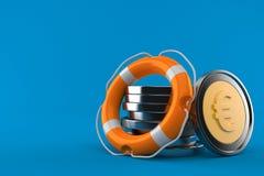 Стог монеток евро с томбуем жизни иллюстрация вектора