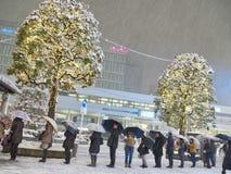 Сцена зимы в районе Kichijoji в Токио стоковые изображения rf
