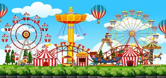 Сцена тематического парка бесплатная иллюстрация