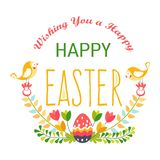 Счастливая пасха изолировала яйцо и птиц религиозного праздника значка иллюстрация штока