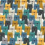 Счастливые коты, красочная безшовная картина иллюстрация штока