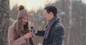 Счастливые пары держа горячие чашки чая над ландшафтом зимы Молодые пары в любов на каникулах зимы, стоя рядом с сток-видео