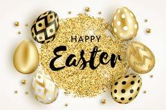 Счастливые яйца пасхи золотые конструируют белое бесплатная иллюстрация