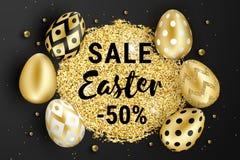 Счастливые яйца пасхи золотые конструируют черноту иллюстрация вектора