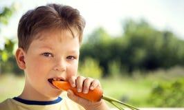 Счастливый мальчик сдерживая морковь, ребенка a с овощем Ребенк есть свежие морковей стоковое изображение rf