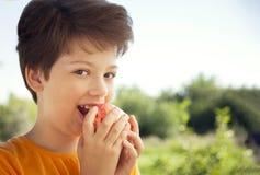 Счастливый мальчик сдерживая яблоко, ребенка a с плодоовощ Ребенк есть свежую грушу стоковые изображения rf