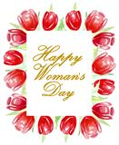 Счастливый день ` s женщины Рамка ярких красных тюльпанов акварель иллюстрация вектора