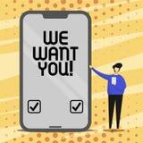 Схематический показ сочинительства руки мы хотим вас Компания текста фото дела хочет нанимать вакансию ища работа талантов иллюстрация вектора