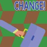 Схематическое сочинительство руки показывая изменение Переход изменения диверсии регулировки изменения текста фото дела иллюстрация вектора