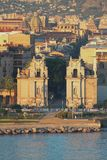 Средневековые ворота Porta Felice города Палермо, Италия стоковое фото