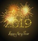 С Новым Годом! предпосылка 2019 фейерверков иллюстрация вектора