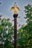 С художественной точки зрения обрабатываемый фотоснимок статуи золотого ангела с голубем в руках положения obvitomatarmatura на a стоковое изображение