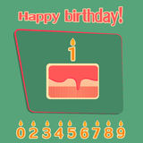 Ð¡ake with candles numbers Royalty Free Stock Photos