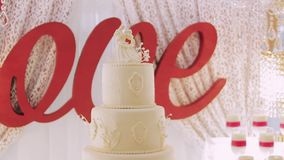 Сake love rose cake for party stock footage