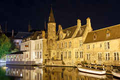 Ð¡anal in Bruges in the night. Belgium. Night view from the promenade Rozenhoedkaai along the canal in the center of medieval city Bruges, Belgium royalty free stock photos