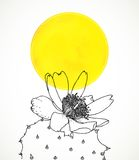 Ð¡ard with botanical drawing of cactus flower. Royalty Free Stock Photography
