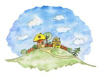 Сartoon landscape with two houses on a green hill. Watercolor i stock illustration