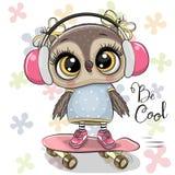 Ð¡artoon owl on a skateboard with headphones. Cute cartoon owl on a skateboard with headphones vector illustration