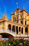 сentral building and bridge at Plaza de Espana royalty free stock photography