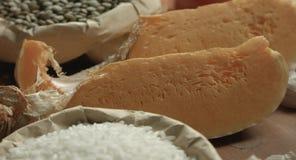 Ð¡ereals, tomatoes, pumpkin, lentil. Ðœegetables, cereals, condiments on the kitchen table stock video