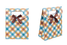 Ð¡heckered blue brown gift bag with bow stock photo