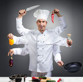 Ð¡hef with many hands. Humorous portrait of a chef with many hands, gray background stock images