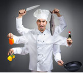 Ð¡hef with many hands. Humorous portrait of a chef with many hands, gray background royalty free stock photos