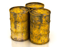 сhemical yellow old barrels Stock Photo