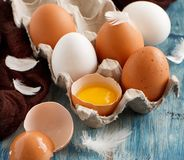 Сhicken eggs in a box. On  a blue wooden background Stock Images