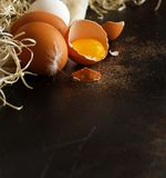 Сhicken eggs close up. On a dark background Royalty Free Stock Photo