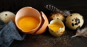 Сhicken and quail eggs in a box. On a dark background Royalty Free Stock Photo