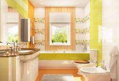 Ð¡hildren`s bathroom with bath and window stock photos