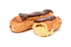 �hocolate eclairs isolated on white Stock Image