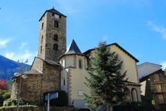 Сhurch of St. Stephen Sant Esteve from Plaça Príncep Benlloch in Andorra la Vella, Principality of Andorra. It is Romanesque in origin 12th century stock photos