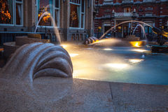 Ð¡ity fountain with illumination in twilight time. Photo royalty free stock images