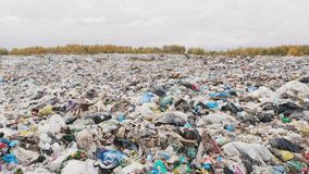 Ð¡ity garbage dump, environmental pollution due to lack of recycling technology stock footage
