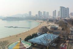 Ð¡ity panorama. With beach and sea royalty free stock photo
