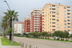 Ð¡ity street. View of new high-rise houses stock photo