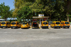Ð¡ity taxi. Alanya. ALANYA, TURKEY - JUNE 27, 2014: Parking a city taxi. Alanya is a popular Mediterranean resort royalty free stock images