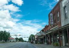 City street in the town of Clarksville in Texas. Provincial life in the USA stock photo
