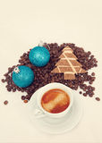 Сoffee and new year decoration Stock Photos