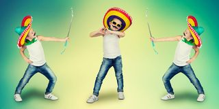 Ð¡ollage.Funny boy with a fake mustache and in Mexican sombrero. Funny boy with a fake mustache and in Mexican sombrero.Ð¡ollage royalty free stock photography