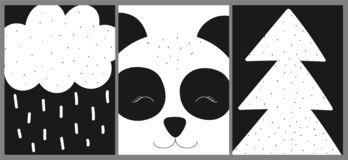 Ð¡ollection of cards, banners, posters for children. Vector black and white hand-drawn scandinavian illustration with panda, trees vector illustration