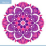 Colored decorative Mandala. Oriental pattern. In pink and purple royalty free illustration