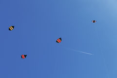 Сolorful kites in the blue sky Royalty Free Stock Images