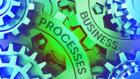 Ð¡oncept Business Processes on the Gears. Green and Blue gear weel background illustration 3d illustration royalty free illustration